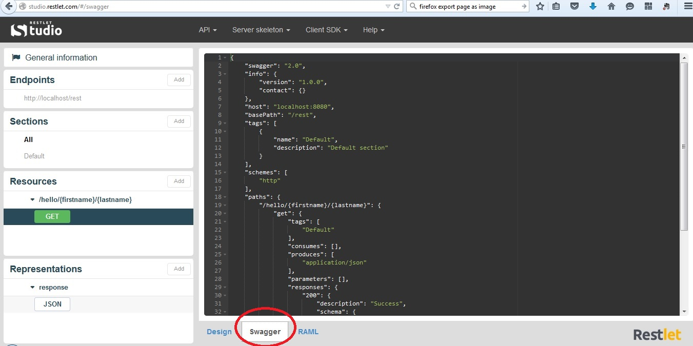 Creating and testing restful services descriptors brandsma blog l export the swagger in the 12 format click api export swagger 12 save the swaggerzip file malvernweather Image collections